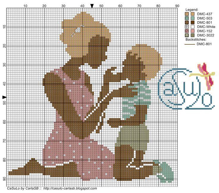 0 point de croix mère et son fils - cross stitch mother and her son