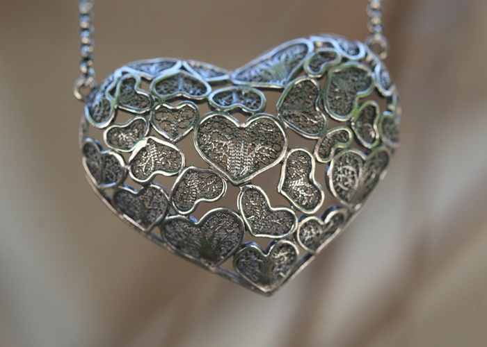 Portuguese ANA HEART Necklace    oxidized sterling silver
