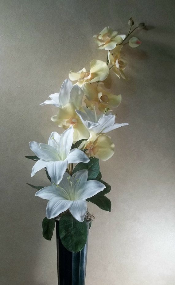 Memorial Flowers For Grave Decoration White Lilies Yellow