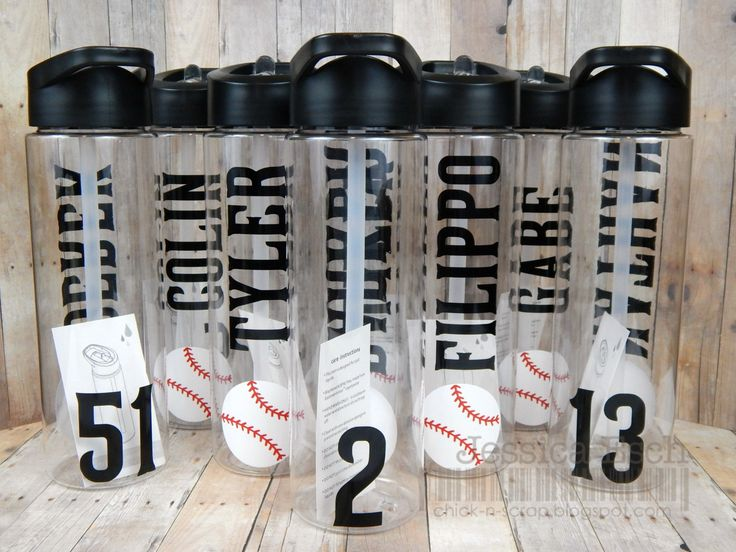 Customized Baseball BPA Free Sports Water Bottles  ~each sports bottle is a 24 oz clear water bottle with black sip spout lid~  These water bottles are perfect for any Team Sport and can be customized with just about any sports image. (check my other listings for different water bottles that I have made)  Water bottle will feature: ~down one side of the bottle, the team members name and baseball image ~ other side will be the players team number (only if you want) Choice of team colors will…