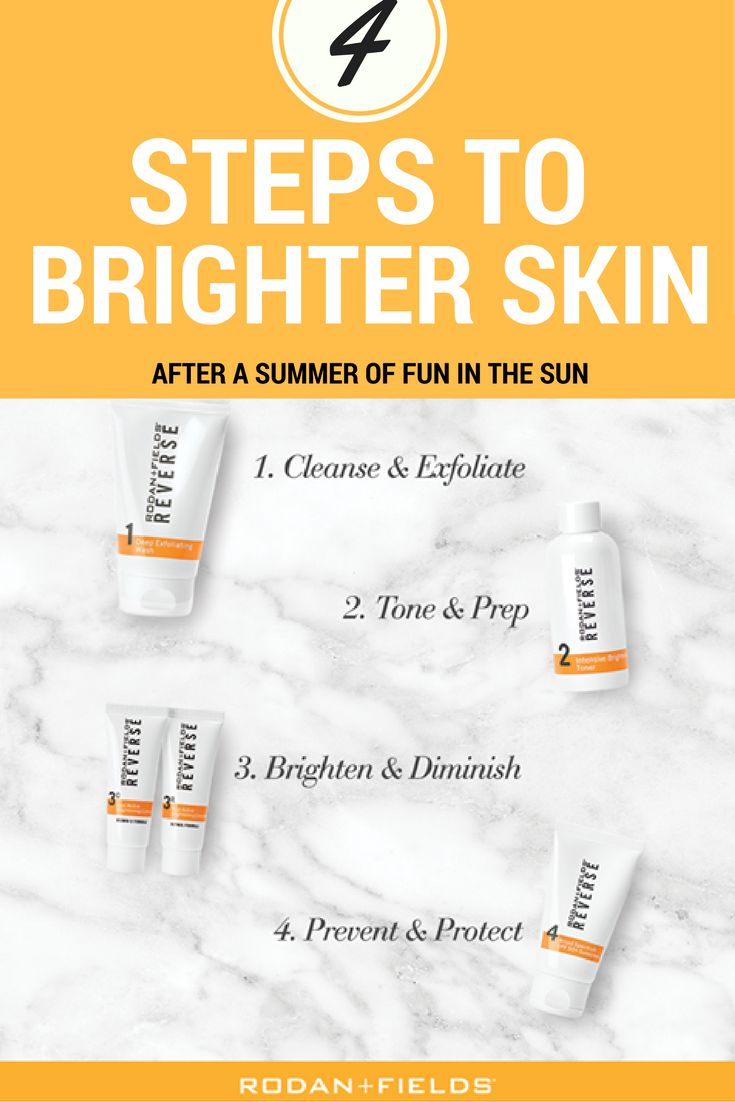 """Spent too much time in the sun this summer? Try the Rodan + Fields REVERSE Regimen. Each step of the REVERSE Regimen builds upon the previous step to address every aspect of dull, visibly uneven skin tone and areas of dark pigmentation. When used in combination, the formulations provide exfoliation, skin brightening and broad spectrum sun protection. LINK in Profile to get a FREE Consultation. Click for additional details or """"Pin"""" this image to come back to it later."""