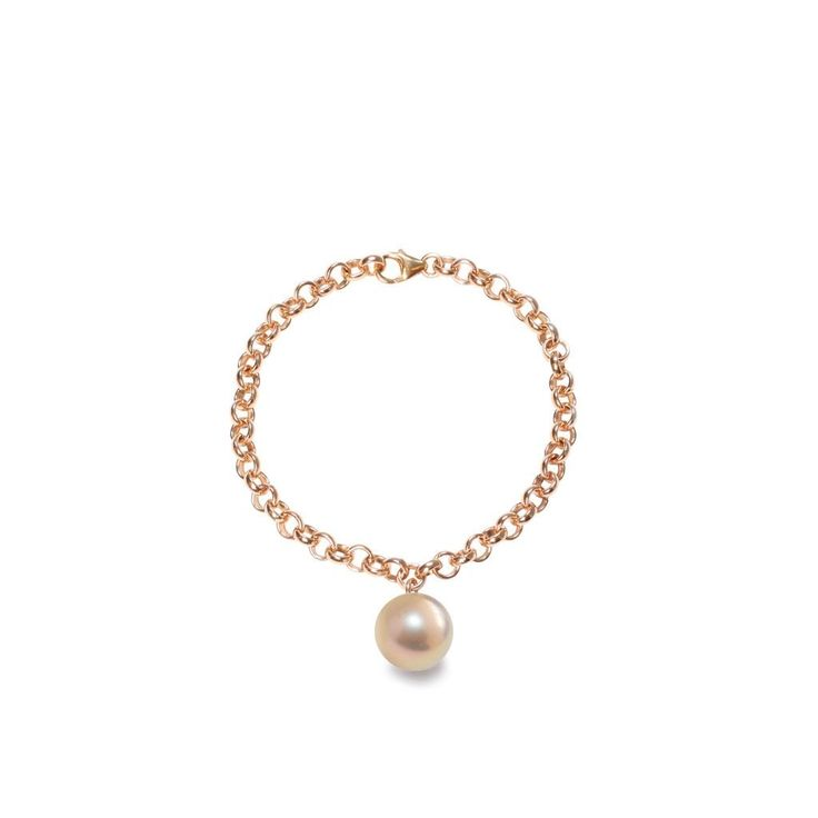 Romantic & delicate: ORA Pearls' chain bracelet with pinky gold XXL pearl charm
