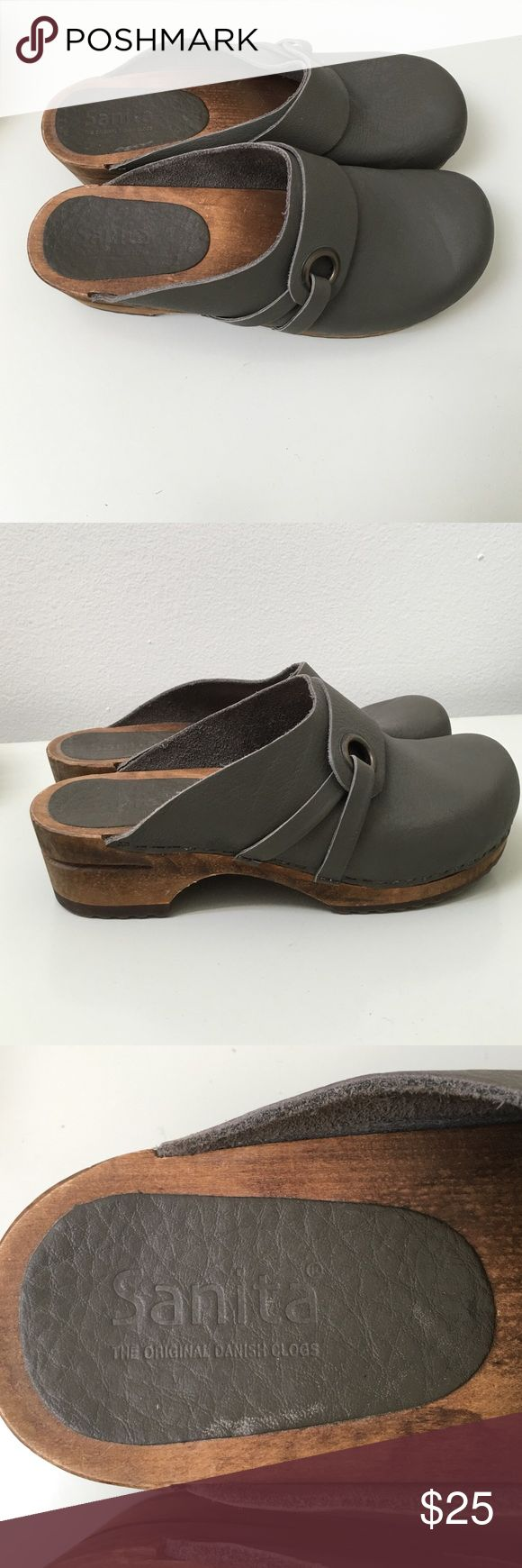 Sanita Clogs-The Original Danish Clog Dark grey leather and wood Sanita Shoes Sandals