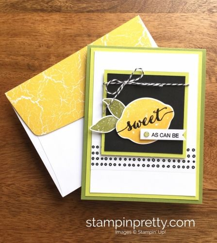 Lemon Zest Stamp Set & Lemon Builder Punch thank you card idea created by Mary Fish, Stampin' Up! Demonstrator.  1000+ StampinUp & SUO card ideas.  Read more https://stampinpretty.com/2017/06/lemon-zest-bundle-sweet-can.html