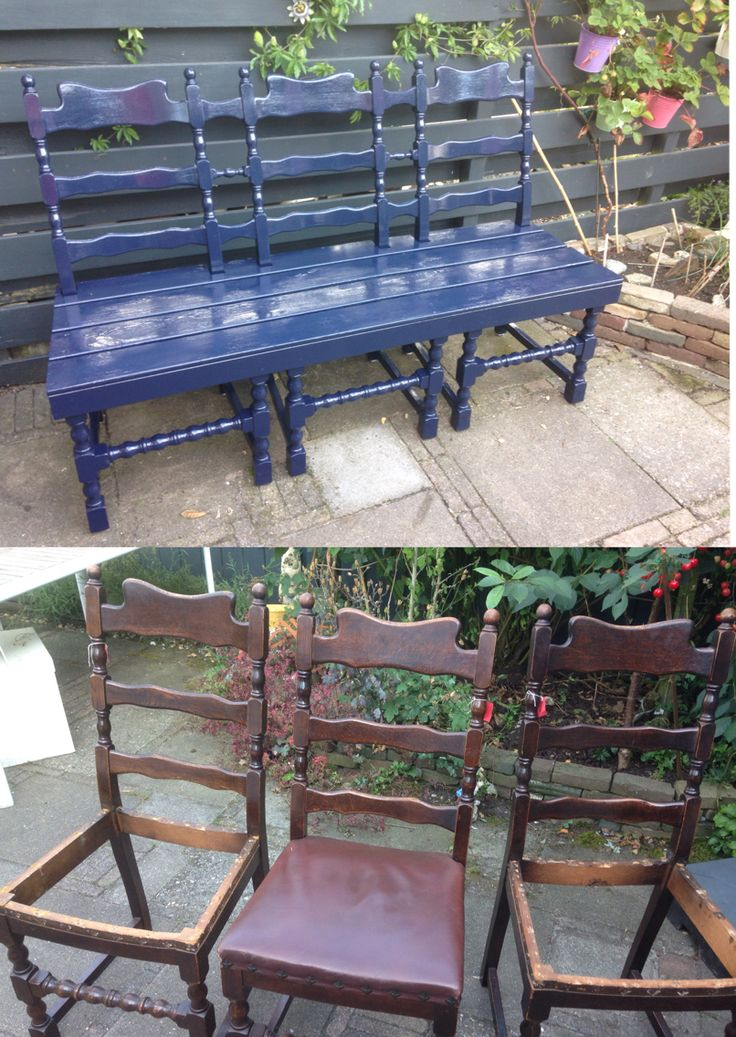 Tuinbank van 3 oude stoelen - bench made of 3 old chairs …