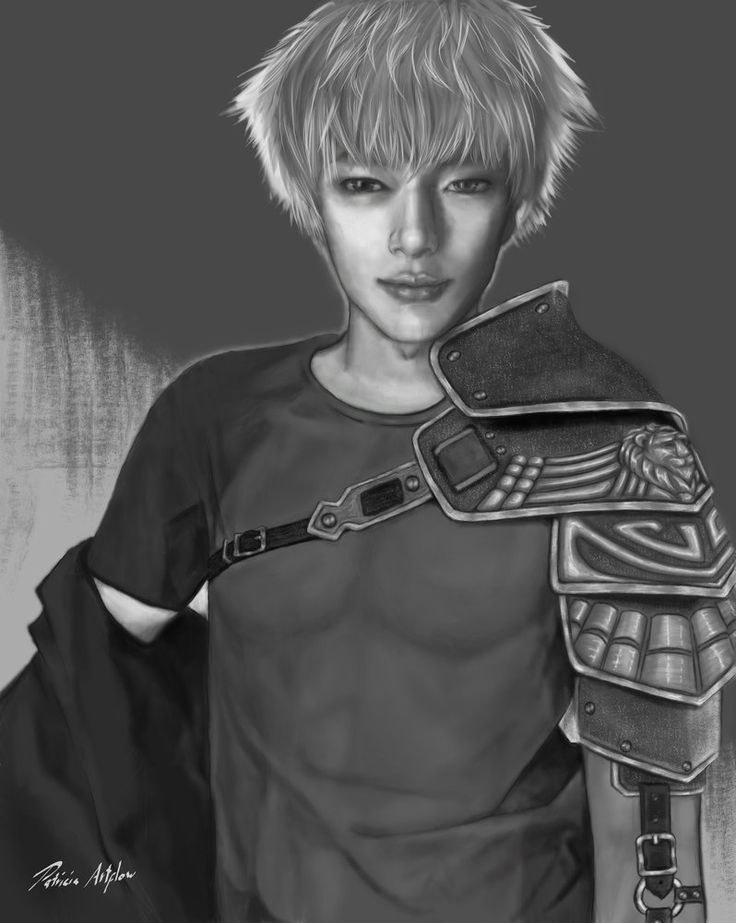 Digital art, painting of a cute asian man who is also a brave hero
