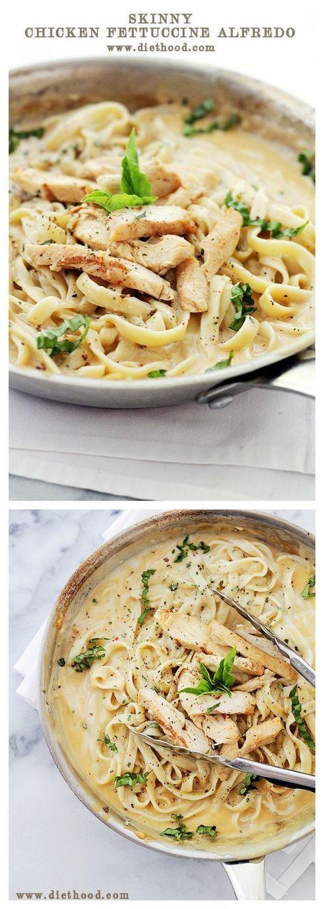 Skinny Chicken Fettuccine with Alfredo Sauce | www.diethood.com | #recipe #KefirCreations #shop