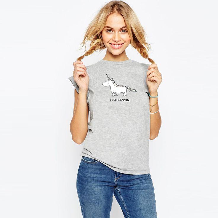 Encontrar Más Camisetas Información acerca de Kawaii lindo unicornio impreso camiseta del verano mujeres corto manga del o cuello gris camiseta que arropan la historieta para para camisetas más el tamaño, alta calidad camisas de traje, China modelos de camisetas Proveedores, barato paquetes de camisa de Young Mind Fashion Co., Ltd en Aliexpress.com