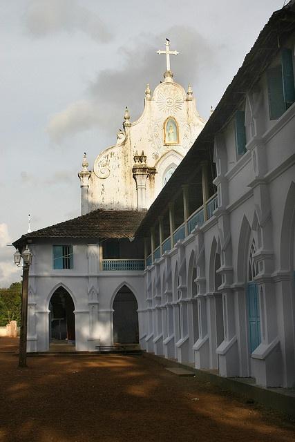 catholic church along the backwaters, kerala.