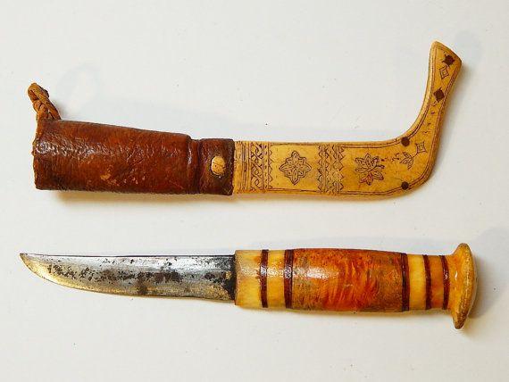 Vintage Antique Carved Reindeer Bone Scrimshaw Sami Puukko Swedish Knife Laplander