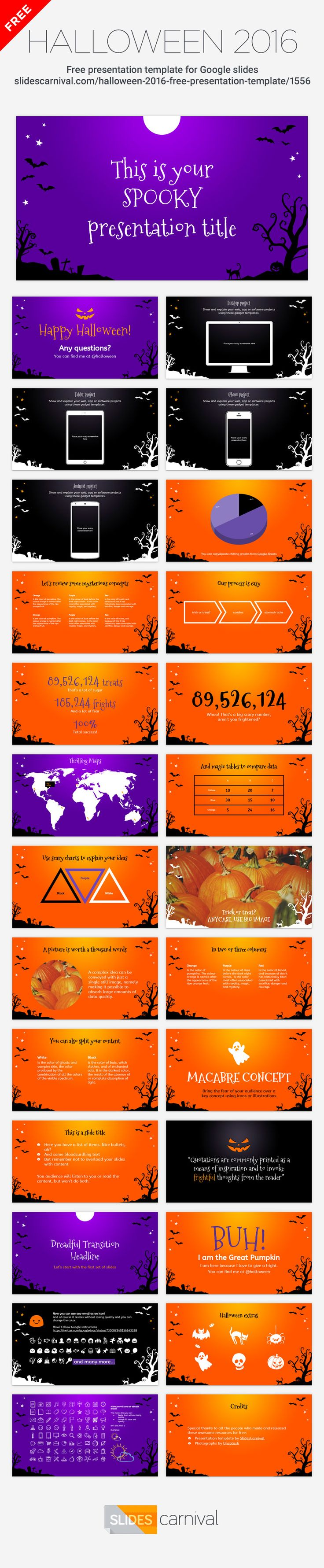 Every year we celebrate Halloween, and you can enliven your classes and meetings using this free presentation template that works both in Google Slides and Powerpoint. With its purple and orange slides and spooky Halloween landscape it will make everybody smile (or shake!). Includes pumpkins, bats, death trees, scary tombs, black cats and lots of fear. Happy Halloween!