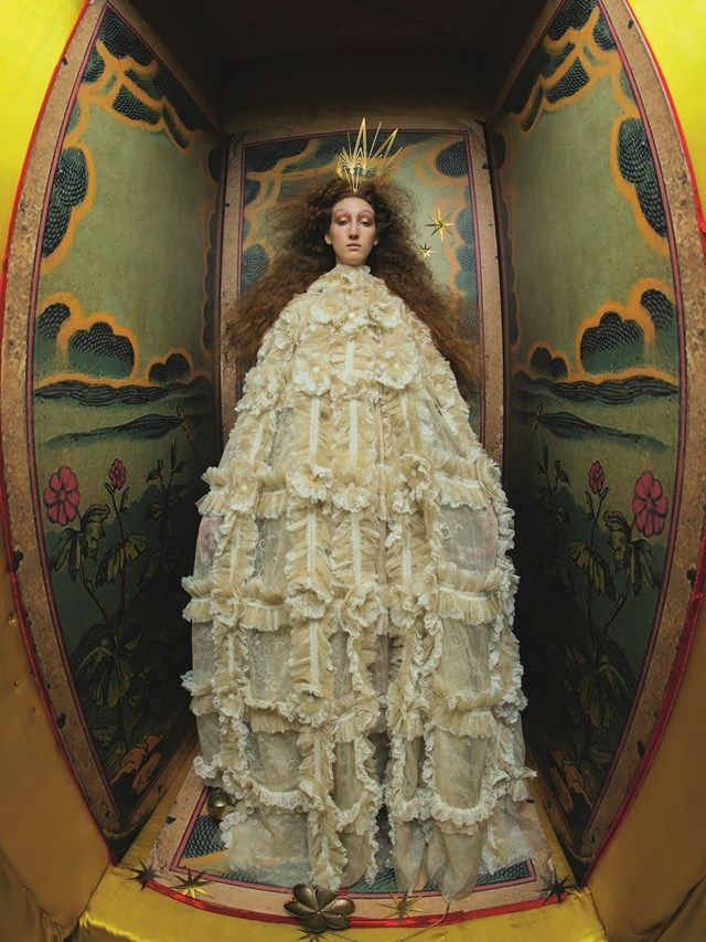 Tim Walker for Gucci England Tarot 2017. Like the distortion and could be applied to a Byzantine perspective if photographed and performed.