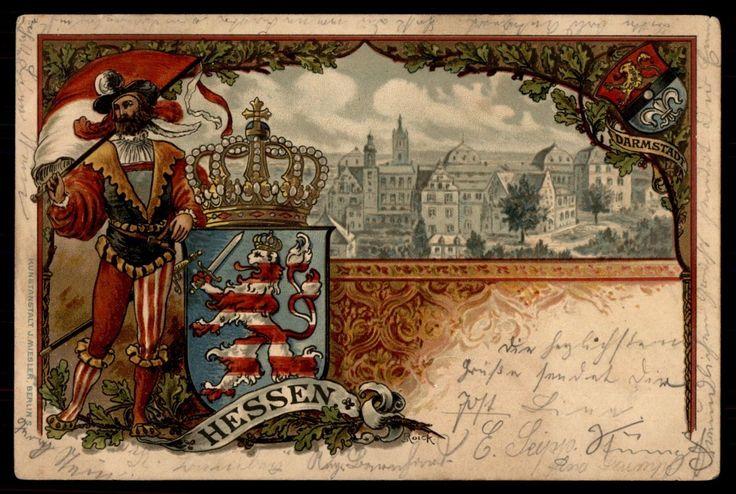 Germany Hessen Darmstadt Arms Heraldic 1901 Art Postcard