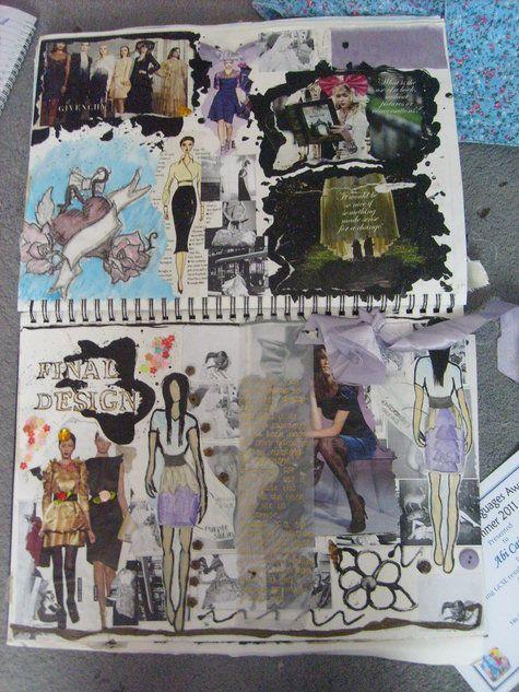 Fashion Sketchbook - student fashion design response to brief; research ideas & design notes - fashion portfolio