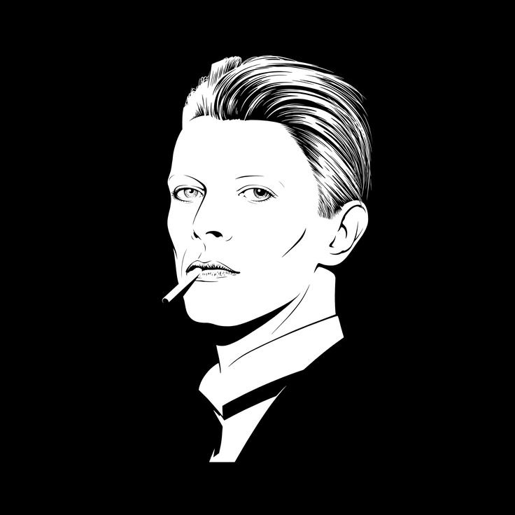 White Duke by Gregory Gilbert-Lodge, 2013. The ambition for this portrait was to portray David Bowie not as Ziggy Stardust but in the less documented Berlin era. Gregory's drawing of Bowie is reduced to the bare minimum, bringing out his characteristic eyes and expressing a sense of elegance. £90.00