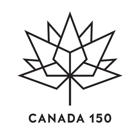Black outline Canada 150 logo on white background