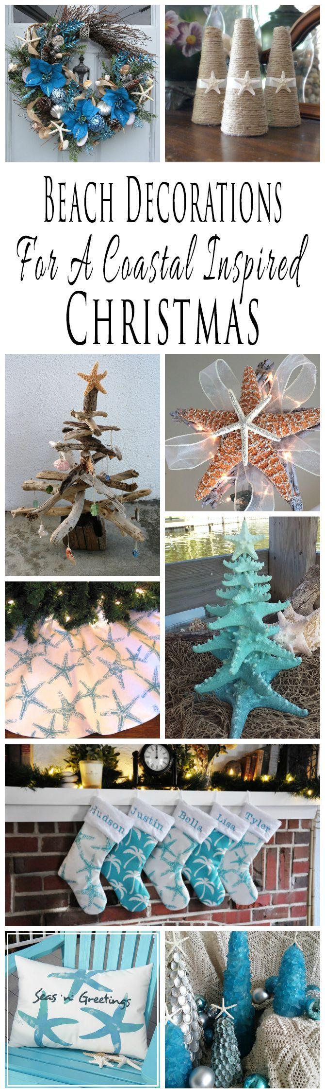 Handmade beach themed Christmas decorations and decor for a coastal inspired Christmas.