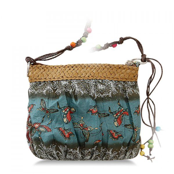 National Style Weaving and Floral Print Design Crossbody Bag For Women - DEEP GREEN