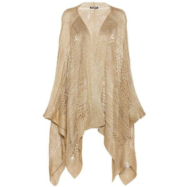Balmain Open-Front Knitted Cardigan ($1,895) ❤ liked on Polyvore featuring tops, cardigans, gold, beige top, gold cardigan, open front cardigan, balmain cardigan and balmain top