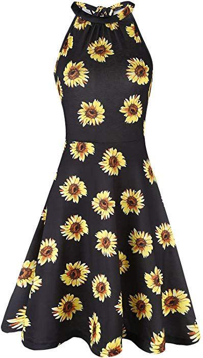 1576fe57843 OUGES Women s Halter Neck Floral Summer Casual Sundress(Floral-08