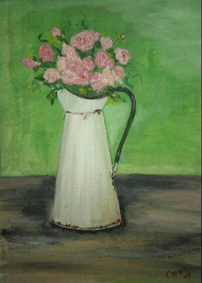 Pink roses in enamel jar; oil paint. By Caren. A4