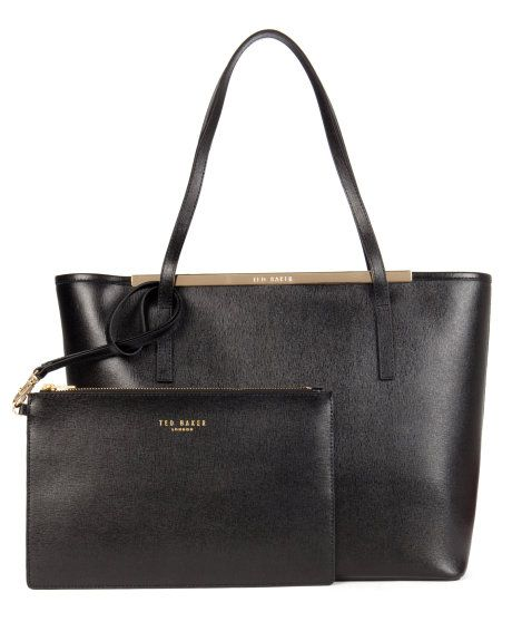Leather crosshatch shopper - Black | Bags | Ted Baker