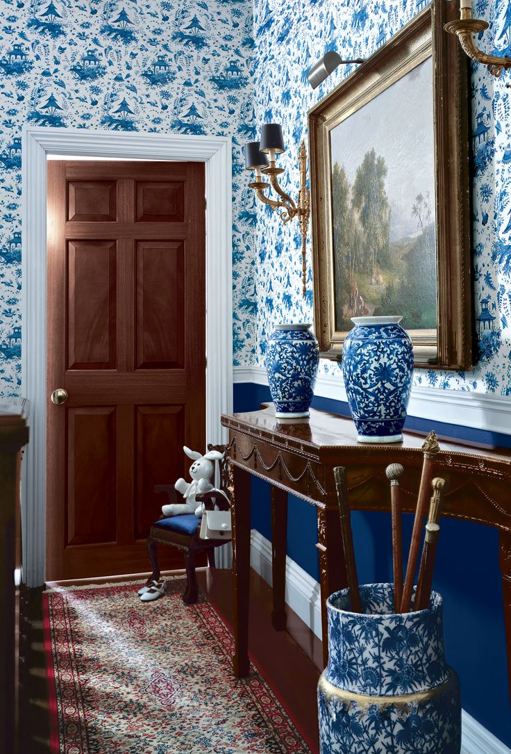 Traditional Foyer Wallpaper : Blue and white toile wallcovering used for dramatic effect