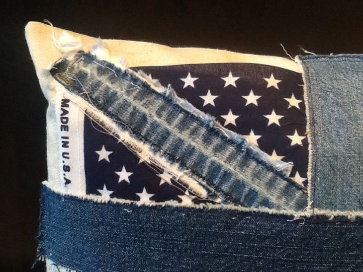 подушки, аппликации, переделка джинсов, креатив, пэчворк, юнион джек, union