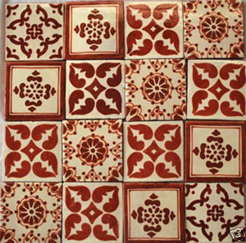 """Mexican Talavera Tiles Handmade 4x4"""" Art Clay  Color Inspiration"""