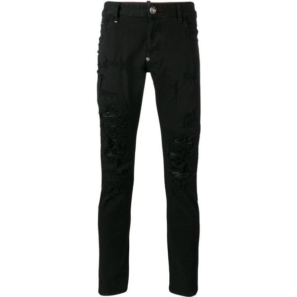Philipp Plein distressed skinny jeans (895,430 KRW) ❤ liked on Polyvore featuring men's fashion, men's clothing, men's jeans, black, mens ripped skinny jeans, mens ripped jeans, mens destroyed jeans, mens torn jeans and mens distressed skinny jeans