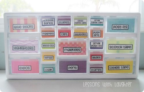 #Organization #Supplies This is another example of a decorated toolbox organizer; this one, however, has been spray-painted. This would be an excellent idea for matching to your classroom theme!