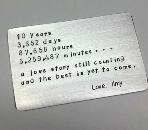 10 Ten Tin Year Anniversary Gift Wallet Insert Love Note 10th Anniversary Gifts Anniversary Ideas For Him 10 Year Wedding Anniversary Gift