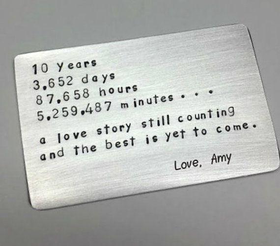 10 ten tin year ANNIVERSARY Gift Wallet insert love note