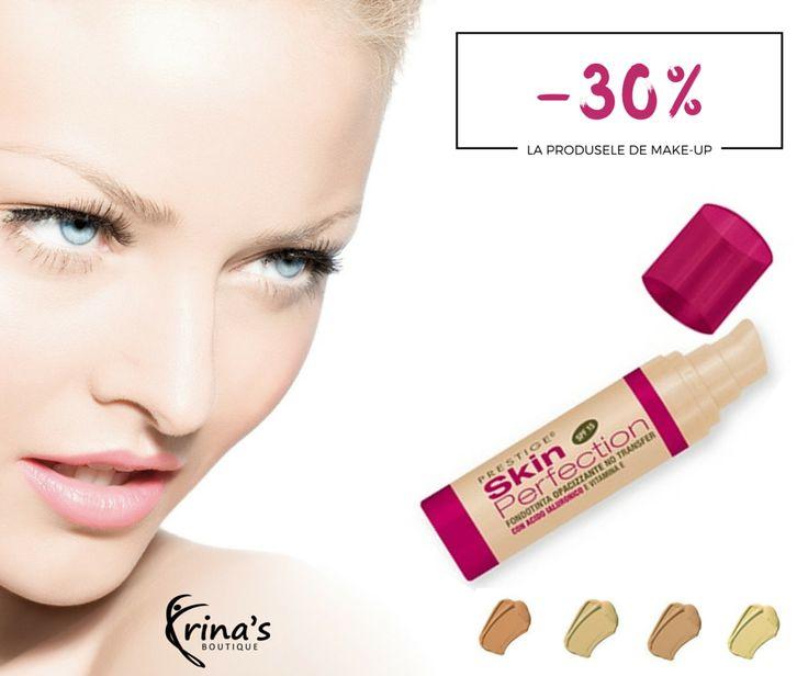 Obtine un machiaj impecabil cu fondul de ten Skin Perfection! Bogat in acid hialuronic si vitamina E, netezeste si hidrateaza in profunzime pielea intreaga zi.  In perioada 1-31 Iulie te bucuri de -30% DISCOUNT la toate produsele de make-up PRESTIGE Cosmetics!  #irinasboutique #skinperfection  #prestigecosmetics #makeup