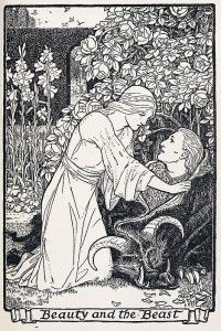 The moment all thinking women dread: Beast turned back into a prince! (John Batten, 1916.)