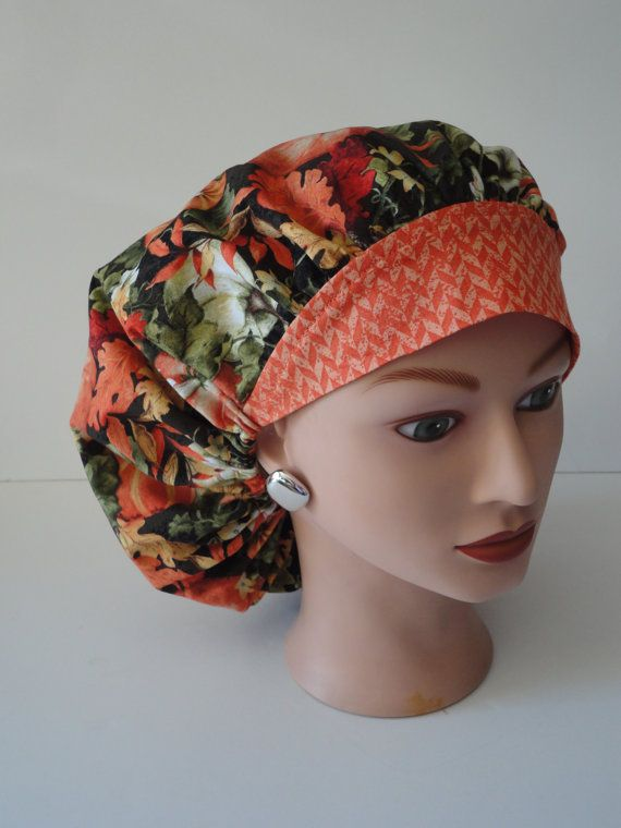 The Perfect Sized Bouffant Scrub Hat...Fall Leaves and Pumpkins w/Mini Chevron Band...Surgical Hat/OR Scrub Hat