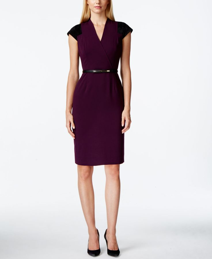 Calvin Klein Cap-Sleeve Belted Sheath Dress