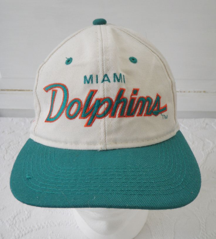 Vintage Miami Dolphins Hat Sports Specialties Script Snapback Hat Cap 90s Cotton Twill One Size Made in Korea NFL Football by TraSheeWomen on Etsy #vintage #sportsspecialties #miamidolphins #snapback #trasheewomen