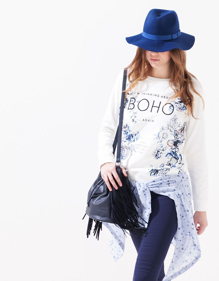 Floral print sweatshirt with embroidery detail