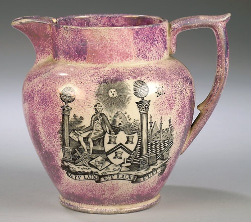 Sunderland Lustre Masonic Pitcher