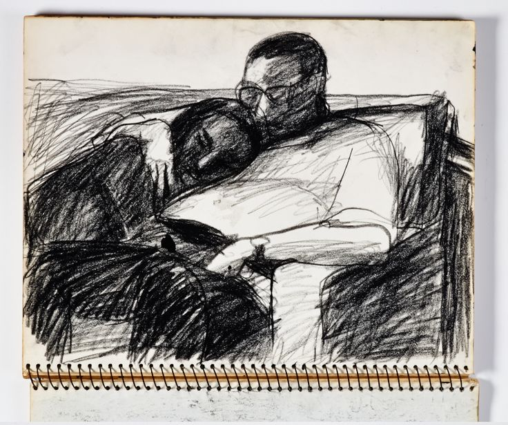 Diebenkorn, crayon, Page 055 from Sketchbook # 20 [male and female figures: man wearing glasses, woman's head resting on man's shoulder]