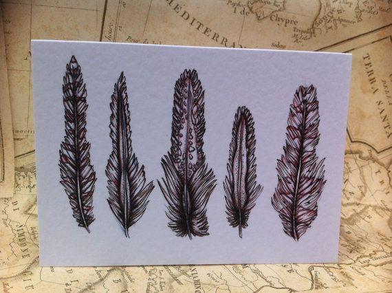 Feather CardA6 Greeting CardGreetings by RosehartStudio on Etsy