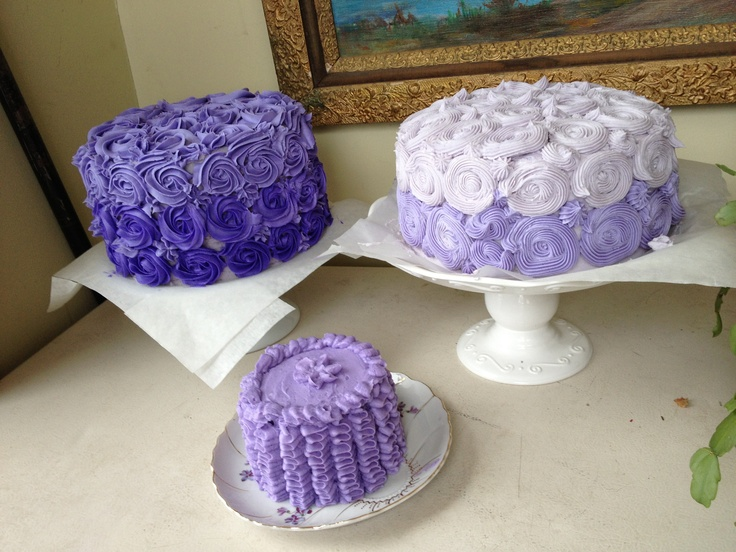Purple hombre cakes & ruffle smash cake for my niece:)