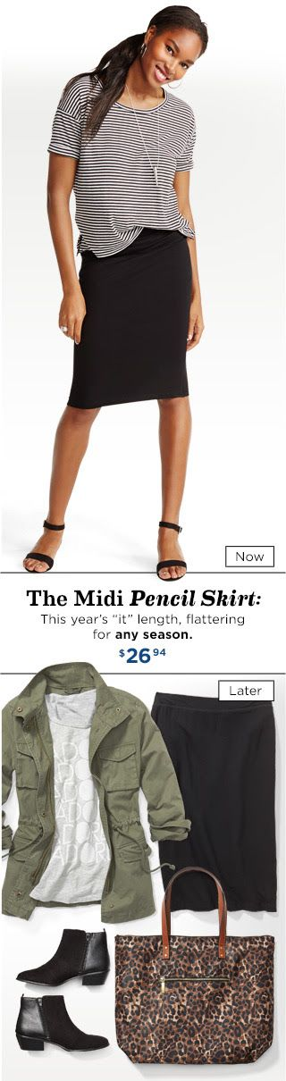 The Midi Pencil Skirt: This year's ''it'' length, flattering for any season. $26.94 from Old Navy
