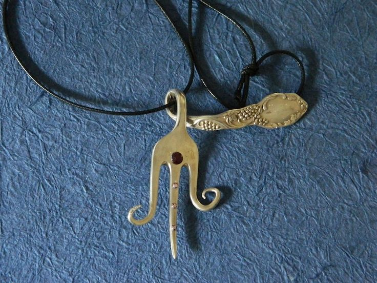 Necklace with old fork and violet/white  rhinestones. Ecological handmade creations http://melylefay.wix.com/avaloncreations