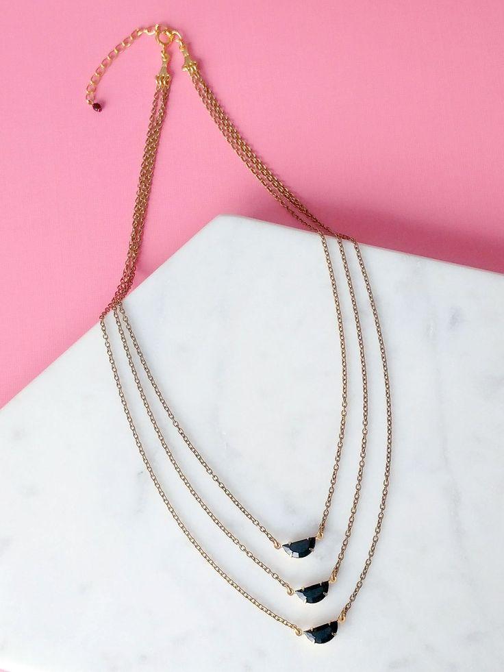 Triple row necklace black moon multi layers    Triple Moon Necklace from Sandrine Devost Jewelry