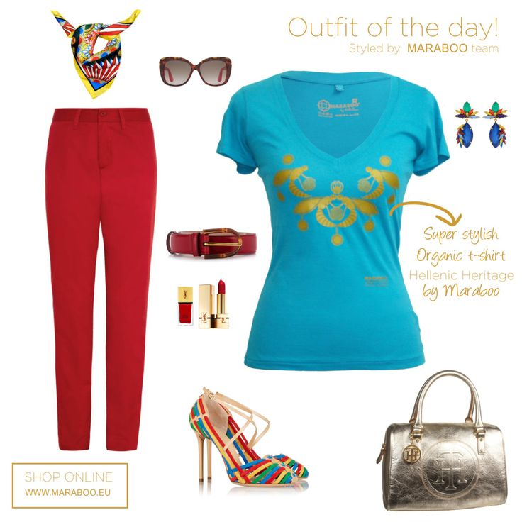 Red pants,Maraboo t-shirt Queen Pasiphae $64.90€,sandals,metallic bag
