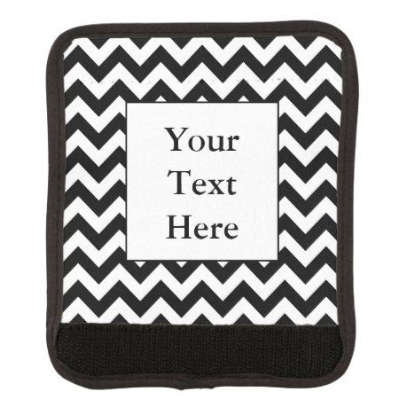 Large Black Chevron Design with Custom Text Luggage Handle Wrap #chevron #pattern #accessories