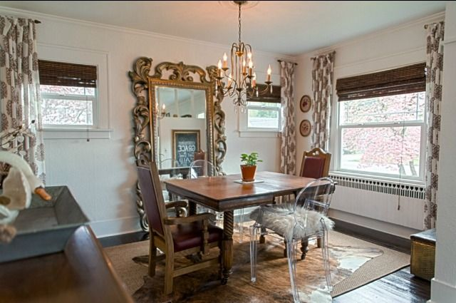 Large Mirror in Dining Room