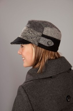 """Billed hat- upcycled wool, tweed, plaid and herringbone. Microfleece lined. Each hat is unique due to upcycled materials. I have one in the """"fall"""" color palette option for family portraits and love it!"""